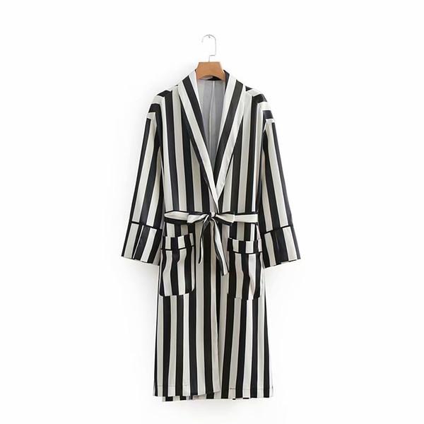 Damen Big Pockets Details Kontrast Weiß Schwarz Gestreifte Trenchcoat mit Schärpen