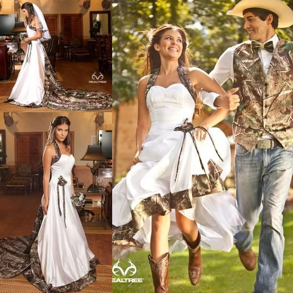 Country Camo White Wedding Dresses Halter Neck Sweep Train Backless A-line Garden Bridal Gowns Custom Made BO9190