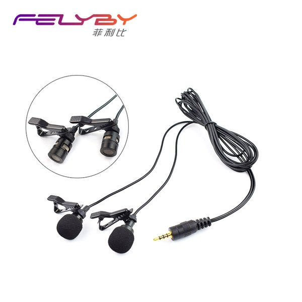NEW Dual-Head Clip on Lapel Microphone Lavalier Omnidirectional Condenser Recording Mic for IOS or Android Phones/PC/Camera