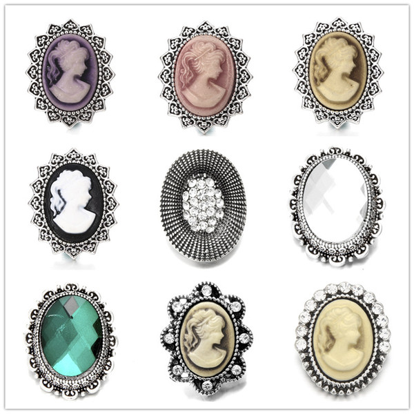Noosa Jewel Inlay ellipse Color Diamond Metal Snap Buttons 18mm Button Charms For DIY Snap Jewelry Findings