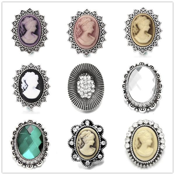 Noosa Jewel Incrustation ellipse Couleur Diamant Boutons En Métal Snap 18mm Bouton Charmes Pour DIY Snap Résultats De Bijoux