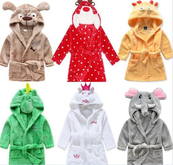 10pcs Children Cartoon animal Hoodie Coral Fleece Bathrobe Unisex Kids cute animal Robe Pajamas Sleepwear Flannel Nightgown Y280