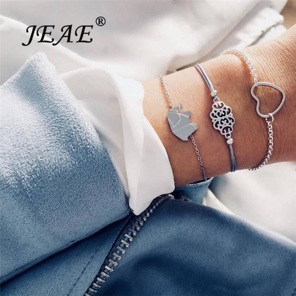 Boho Multilayer Lucky Elephant Heart Bracelets For Women Vintage Silver Chain Charm Femme Bracelet Set Jewelry Bijoux Pulseira