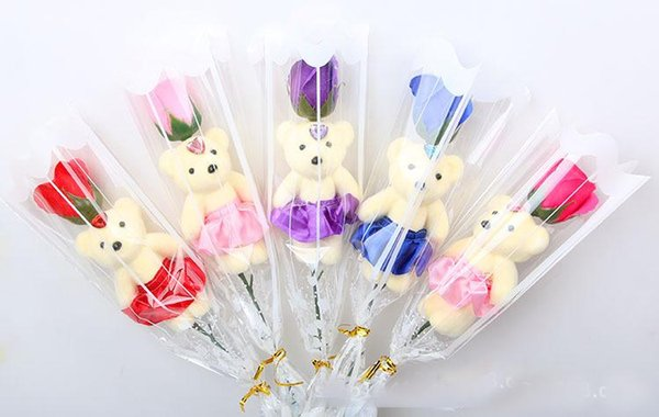 Cute teddy bear soap rose birthday mother's day valentine's day gift 5 colors