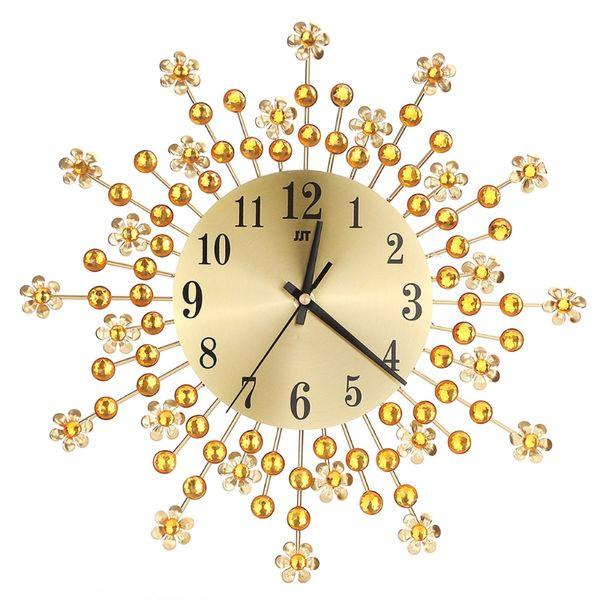 Beautiful Large Wall Clock Flower Art Metal Modern Luxury Diamond Indoor Home Living Room Sep29