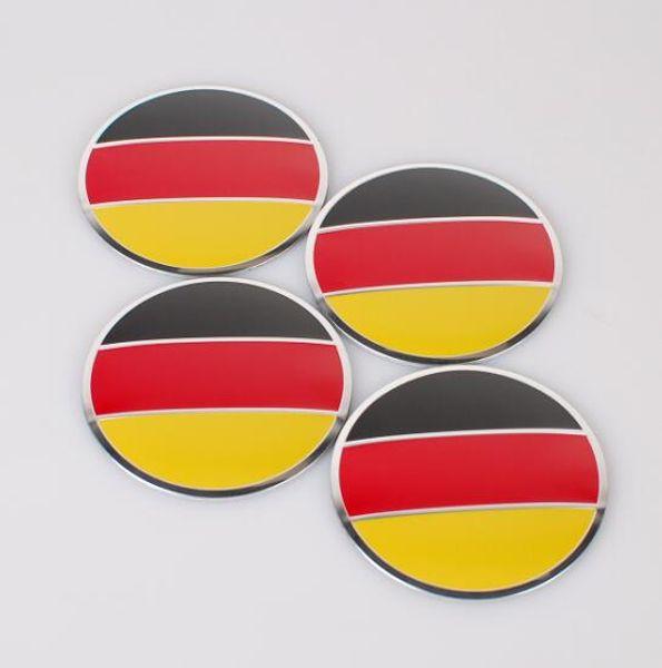 4pcs/set 56.5mm Germany Flag Check Car Styling Aluminum alloy Center Wheel Cover Labeling Emblem Car Sticker Badge