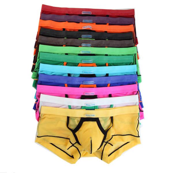 12pcs / pack hommes respirant pure mesh sous-vêtements boxeurs lingerie sexy mens patchwork renflement pochette boxer shorts malles gros