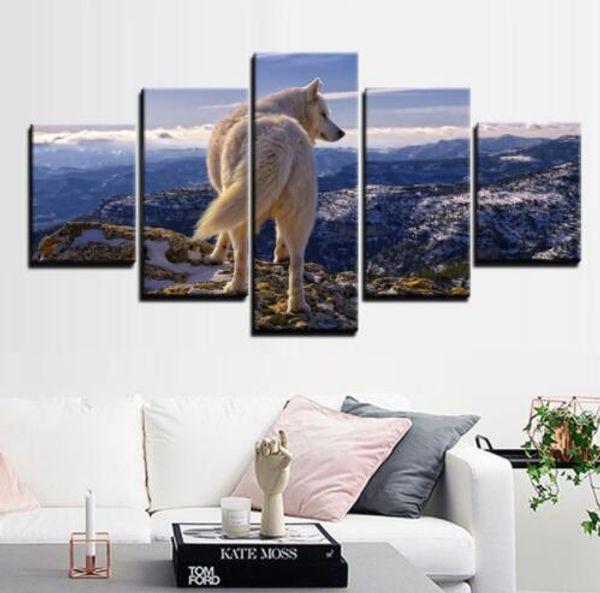 White Wolf Canvas Art 5 Pezzi Stampa Dipinti Murali stampe su Tela Dipinti Ad Olio Poster Personalizzato