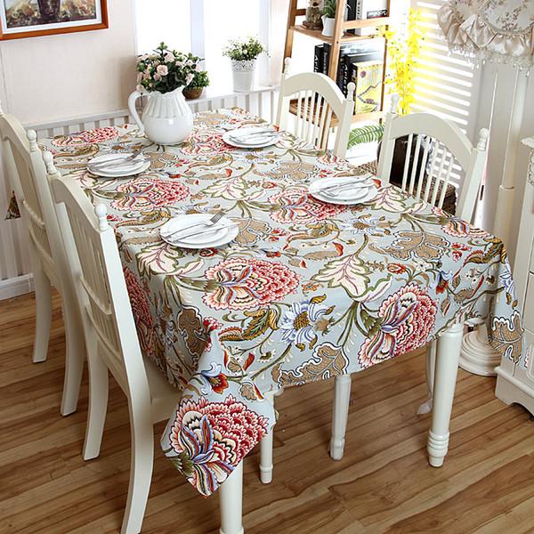 1 renk 7 boyutu Kırsal baskı su geçirmez pamuk tuval dikdörtgen ev masa örtüsü masa kapakları masa koşucular