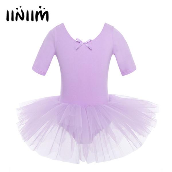 4 Color Teen Children's Short Sleeve Cotton Ballet Tutu Kids Costumes Gymnastics Leotard for Girls Dancing Class Ballerina Dress