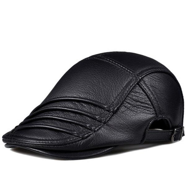 RY914 Winter Men Genuine Leather Wrinkle Beret Hat Male Korean Style Thin Boina Dermal Deerskin Casual Idle Duckbill Caps Gorro