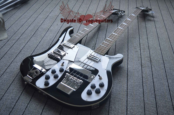 Black new Double Neck 4 Strings Electric Bass Guitar and 12 Strings Electric Guitar Free shipping