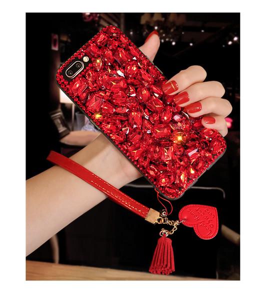 Bling glitter cristal diamante tampa traseira amor vermelho coração pingente pulseira de couro borla strass shell de telefone para iphone samsung huawei
