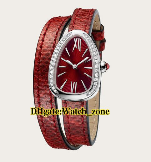 27mm Serpenti 102780 Red Dial Swiss Quartz Women's Watch Siver Case Diamond Bezel Red Leather Strap High Quality Lady Watches