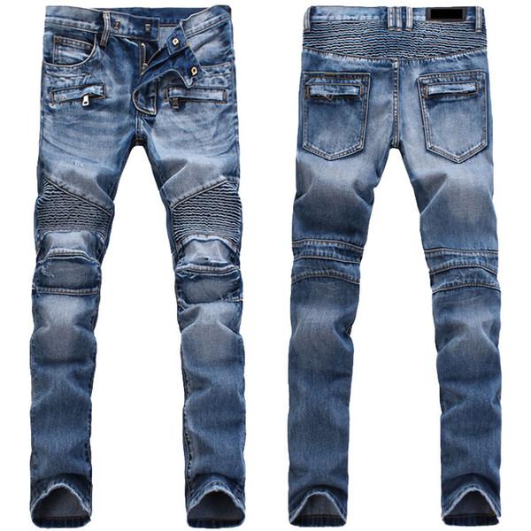 HOT Men's Distressed Ripped Skinny Jeans Fashion Designer Mens Shorts Jeans Slim Motorcycle Moto Biker Causal Mens Denim Pants Men Jeans