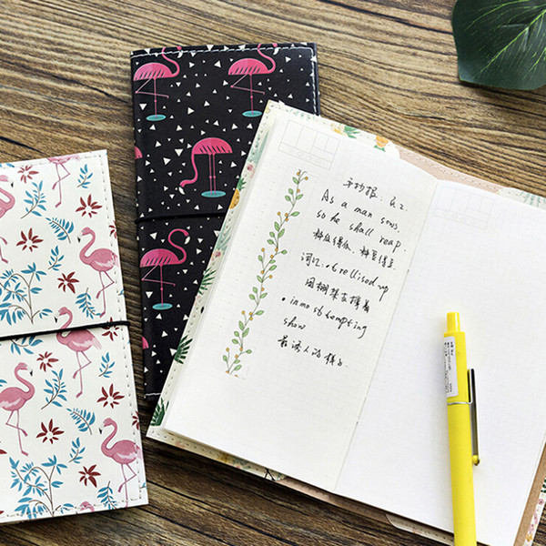 175*95MM PU Leather Strolling Flamingo Cover Planner Notebook Diary Book Exercise Composition Binding Note School Stationery