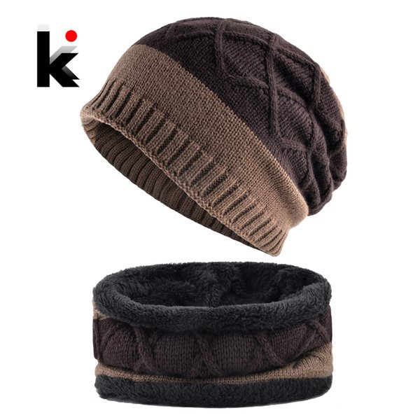Thick Hat Scarf Set 2018 Winter Men's Knitted Striped Beanies Cap Men Double Layer Add Velvet Warm Skullies Bonnet Scarves Sets