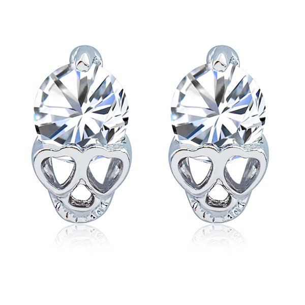 Skull Earrings for Women Cute Heart Eyes Earrings Girl Small Jewelry Rose Gold Color Trendy Shining CZ Crystal Stud Earrings Brincos Gift