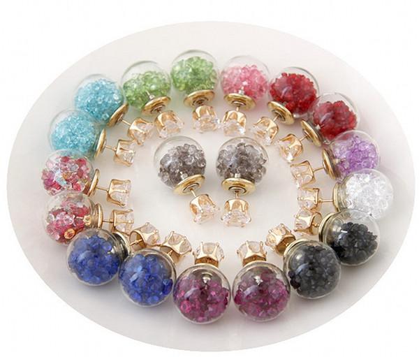Fahion Botellas de doble cara con perlas Aretes de circón Pendientes de gota DIY Bola de cristal Cuerda Flores secas Pendientes de perlas Joyería H133R