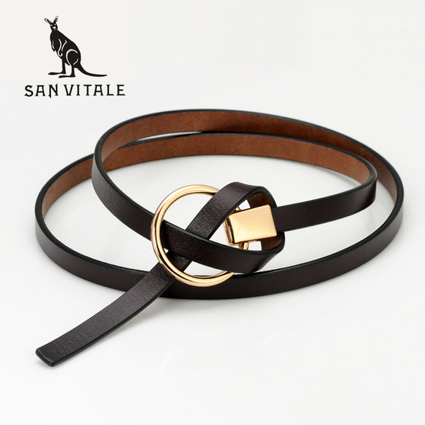 2017 New Design Ladies Belts Women's Strap Genuine Leather Casual Female Cow Leather Belts for Skirts Dress students pure color