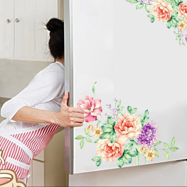 Wall Stickers Removable Peony Floral DIY Wall Decal Stickers Mural for Refrigerator Washing Machine Toilet