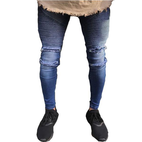 Mens Jeans Hole Jogger Skinny Jean Men Blue Biker Pencil For Zipper Ripped Streetwear Hip Hop Motorcycle Pants