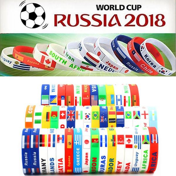 2018 Russie Coupe du Monde Sport bracelets De nombreux pays drapeaux nationaux silicone Bracelet Pour Football Fans de football Souvenir Sport Poignet