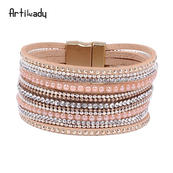 Artilady pulseira de cristal natural de luxo design exclusivo pulseira de declaração de couro genuíno para as mulheres com magia fechamento jóias