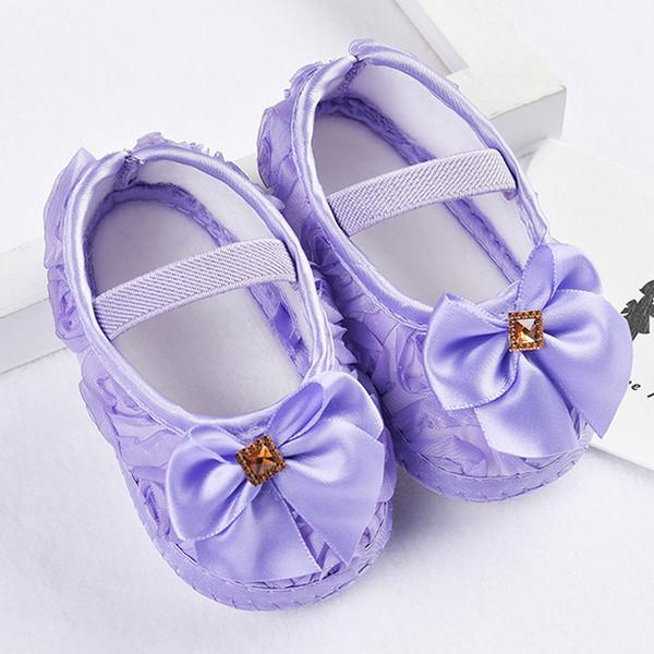 Rose bowknot elástico recém-nascido walking shoes criança kid baby girl butterfly nó sólidos plissado sapatos de presente para o bebê 40