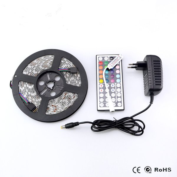 SMD 5050 RGB Led Strip Lamp DC 12V 2A 3A Adapter Power Supplier 24 44 key Controller IR Remote White / Warm String Light Decor