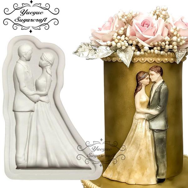 Yueyue Sugarcraft Braut und Bräutigam Hochzeit Silikonform Fondantform Kuchen dekorieren Tools Schokolade Gumpaste