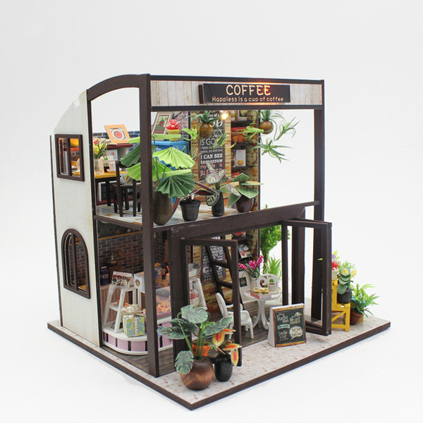 Assemble DIY Mini Coffee House Model Kits Wooden Miniatura Doll Houses Miniature Dollhouse Toys with Furniture LED Lights Gifts