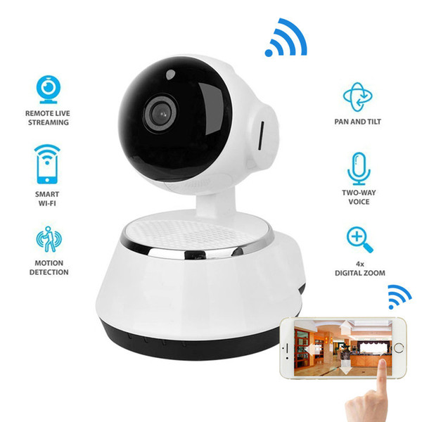 2018 Hight Quality Wireless IP Camera AX003 WIFI 720P CCTV Home Security Cam Wifi IP Camera White Support Microphone & P2P Free APP ABS