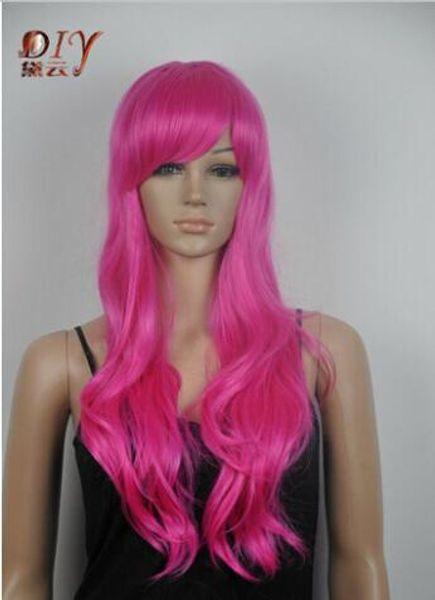 Free shipping+++Japan Kanelaon Silk Women Rose Red Natural WAVY Cosplay Long Hair Full Wig