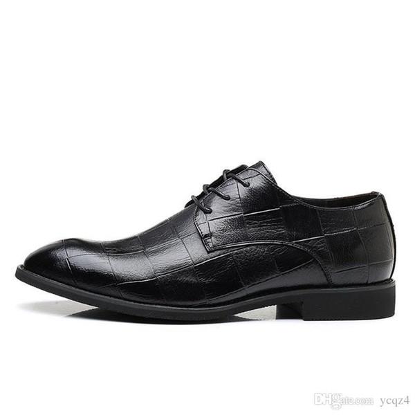 Ashion Men Wedding Party Dress Shoes Couro Genuíno Casual Bussiness Homens Sapatos Lace Up Formais Oxfords Para Homens Apartamentos