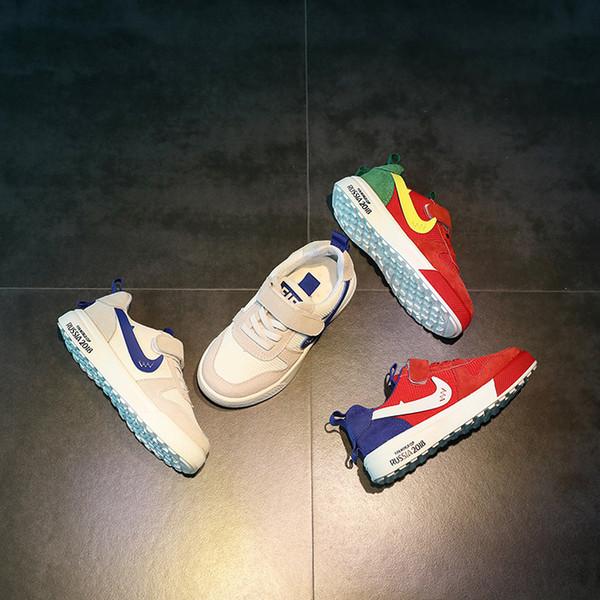 Novo Padrão Atacado Crianças Sapatos de Baixa Ajuda Magia Adesivo De Lazer De Borracha Inferior Não-slip Boy E Menina Tênis Design