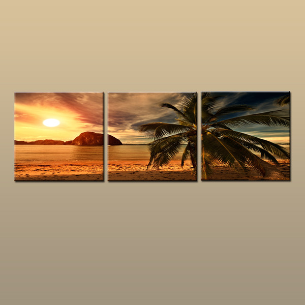 Framed/Unframed Large Contemporary Wall Art Print On Canvas Hawaii Palm Tree Beach Sunset Glow Landscape 3 pieces Picture Home Decor abc29
