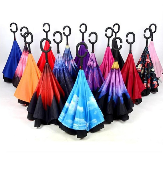 Inverted Umbrella Double Layer Reverse Rainy Sunny Umbrella with C Handle J Handle Self Standing Inside Out Special Design Free Shipping