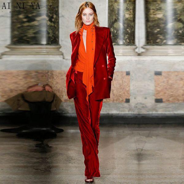 Traje chaqueta pantalon rojo mujer