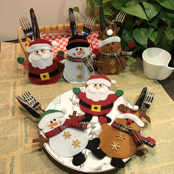 6 Estilo Cubiertos de Navidad Bolsa Santa Claus Muñeco de nieve Elk Silveware Titulares Porches Cuchillo Tenedor Bolsas Fiesta de Navidad Decoración de La Cena