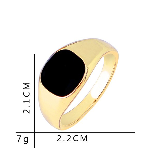 America fashion Vintage Hot Sale Classic Gold/Silver color Mens Jewelry Enamel Black Rings For Men