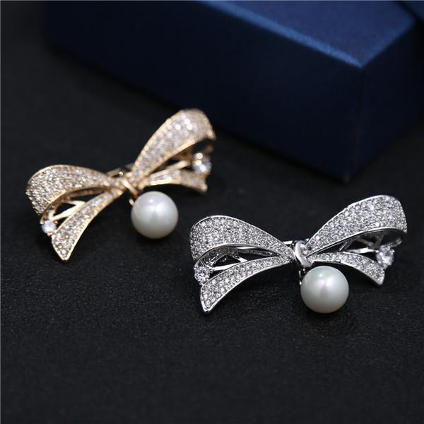 Perlas de agua dulce naturales Bowknot Broches Joyería Diseñador de la marca de moda CZ Bow Ramillete Flor para el banquete de boda