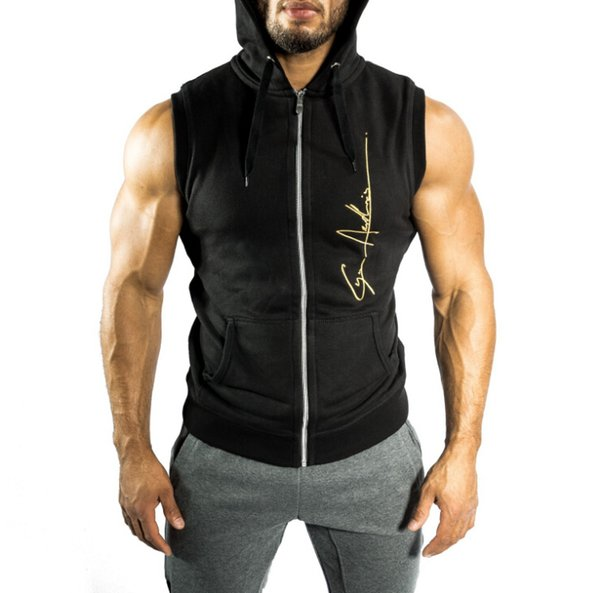 Men Athletic Vest Top Body Shaper Sleeveless Hooded Casual Tee Gym Male Basic Wear