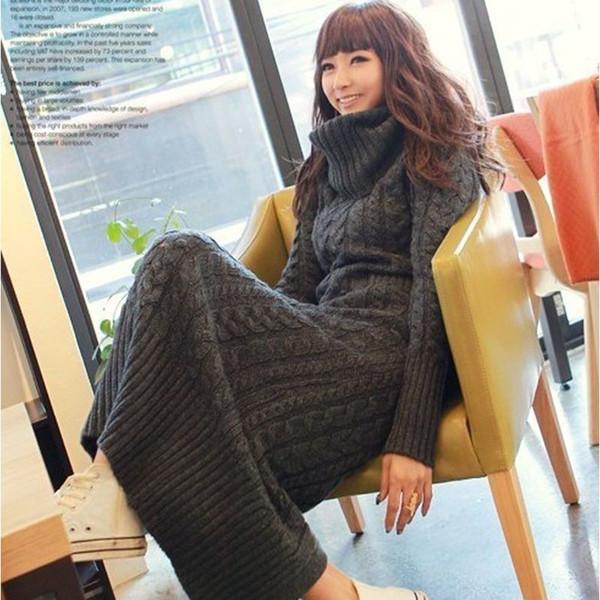 2017 Herbst Winter Mode Frauen hohe Kragen dünne Pullover Kleid beiläufige warme feste Farbe große Yards lange Grundierung stricken Mädchen Kleid