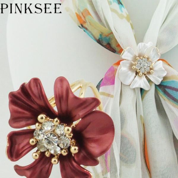 PINKSEE Moda Elegante Cristalino de la Bufanda Anillo Flor Hebilla Titular Clip Joyería para Señora Accesorios de la joyería