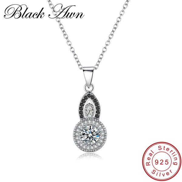 [SCHWARZ AWN] Echtes 925 Sterling Silber Halskette für Frauen Schmuck Trendy Kürbis Halsketten Anhänger Weibliche Bijoux P058