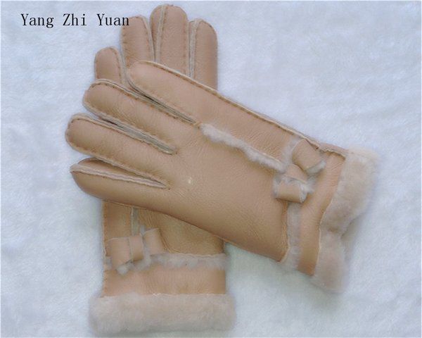 Winter gloves new ladies fashion windproof warm gloves leather gloves high quality 100 wool glov