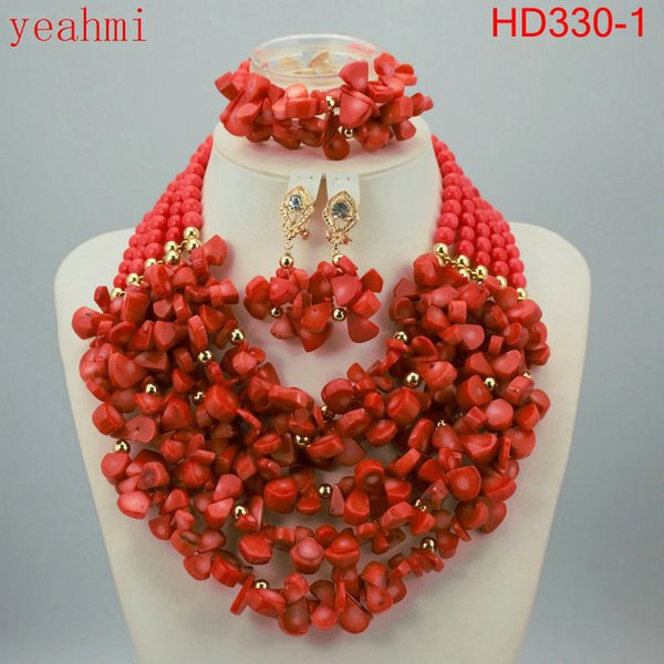 Handmade Luxury African beads jewelry sets indian beaded nigerian wedding bridal beads necklace dubai jewelry sets HD330-1