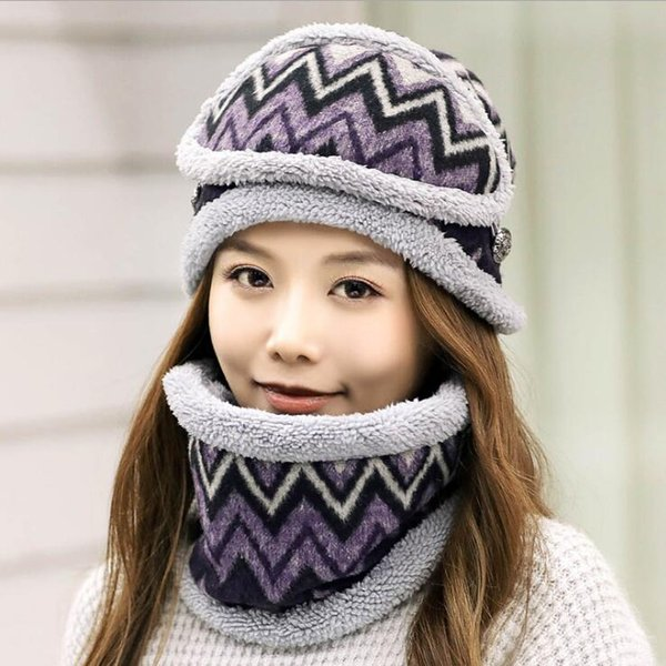 3pcs/set Winter Hat Mask Scarfs Thicken Plush Warm Knitted Beanie Hat Scarves Women Outdoor Slouchy Ski Caps Collar Scarf