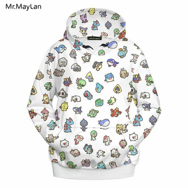 3D Print Cartoon Jackets Men/Women Hiphop Streetwear Outwear Hipster Pullovers Hood Sweatshirts Boys White Coat Clothes